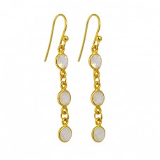 Rainbow Moonstone 925 Sterling Silver Gold Plated Bezel Setting Dangle Earrings