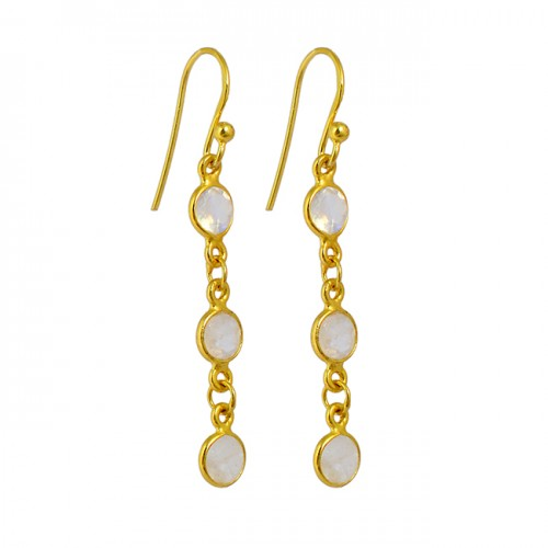 Rainbow Moonstone 925 Sterling Silver Gold Plated Bezel Setting Dangle Earrings