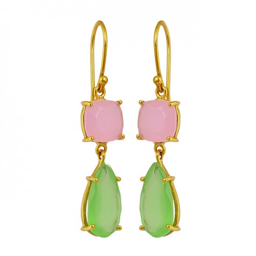 Prong Setting Chalcedony Gemstone 925 Sterling Silver Gold Plated Dangle Earrings