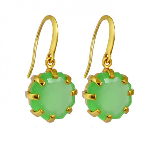 Hexagon Shape chalcedony Gemstone 925 Sterling Silver Gold Plated Dangle Earrings