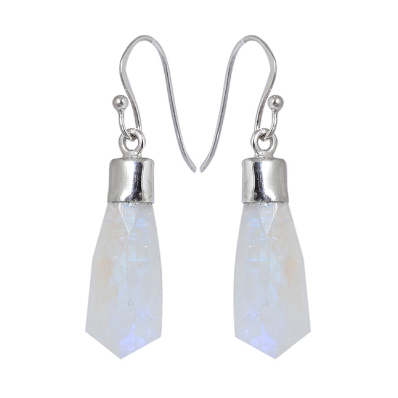 Rainbow Moonstone Tie Shape Gemstone 925 Sterling Silver Handmade Dangle Earrings