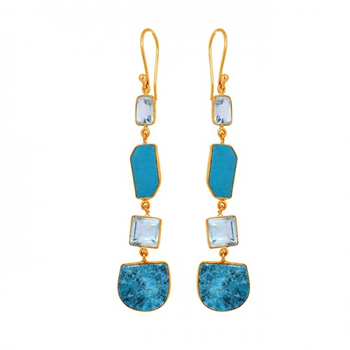 925 Sterling Silver Blue Topaz Turquoise Gemstone Gold Plated Dangle Earrings