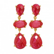 Ruby Pear Marquise Shape Gemstone 925 Sterling Silver Gold Plated Stud Earrings