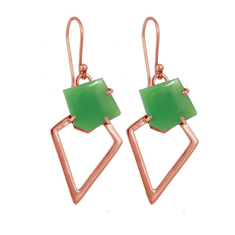 Fancy Shape Natural Chrysoprase Gemstone 925 Sterling Silver Gold Plated Earrings