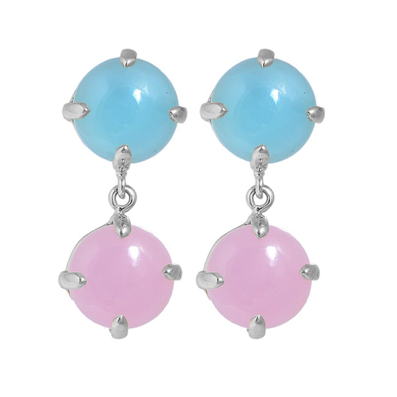 Round Cabochon Chalcedony Gemstone 925 Sterling Silver Gold Plated Stud Dangle Earrings