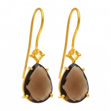 Smoky Quartz CZ Gemstone 925 Sterling Silver Gold Plated Dangle Handmade Earrings