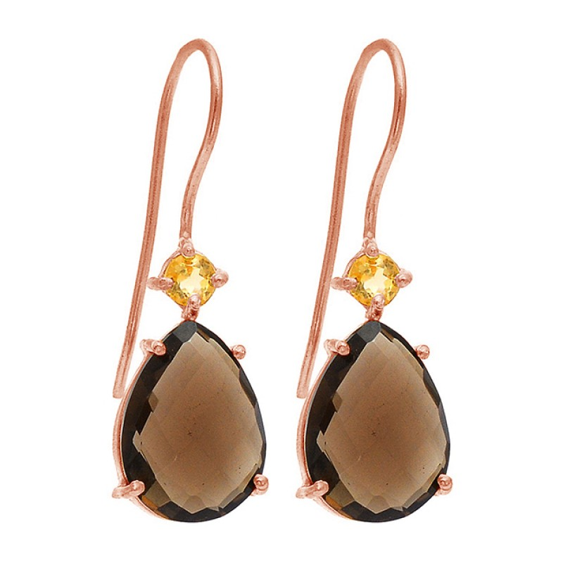 Smoky Quartz CZ Gemstone 925 Sterling Silver Gold Plated Dangle Handmade Earrings
