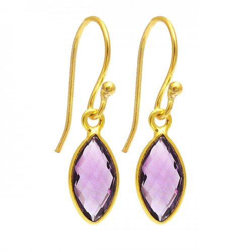 Marquise Shape Amethyst Gemstone 925 Sterling Silver Gold Plated Dangle Earrings