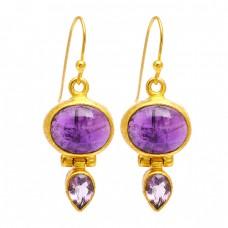 Amethyst Oval Pear Shape Gemstone 925 Sterling Silver Gold Plated Dangle Earrings