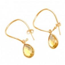Pear Shape Citrine Gemstone 925 Sterling Silver Handmade Designer Hoop Earrings