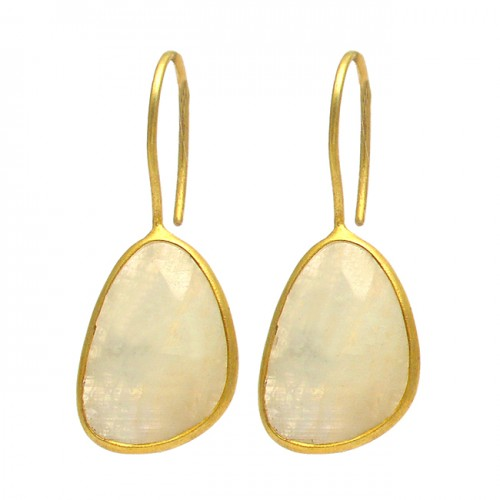 Oval Shape Rainbow Moonstone 925 Sterling Silver Gold Plated Fixed Ear Wire Earrings
