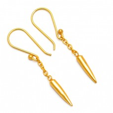 Hanging Chain Bullet Shape Designer Plain Gold Plated Dangle Earrings