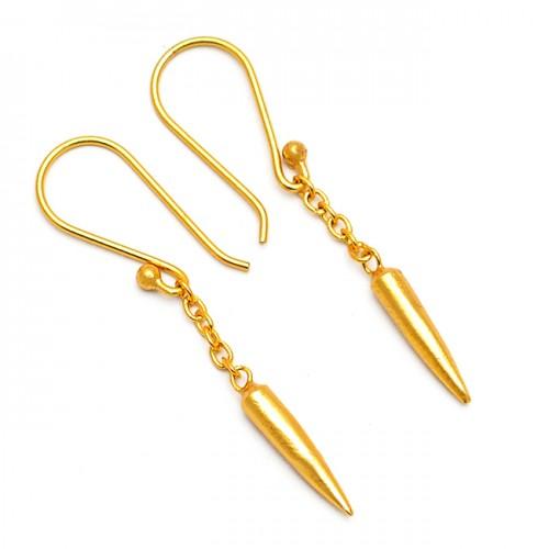 Hanging Chain Bullet Shape Designer Plain Gold Plated Dangle Earrings