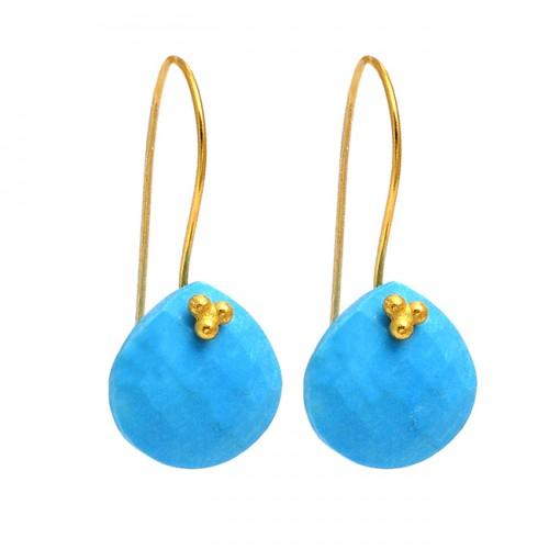 Heart Shape Turquoise Gemstone 925 Sterling Silver Gold Plated Designer Earrings