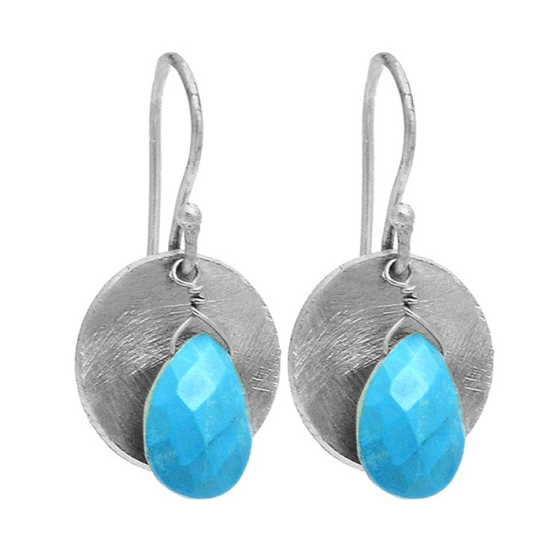 Pear Shape Turquoise Gemstone 925 Sterling Silver Gold Plated Dangle Earrings