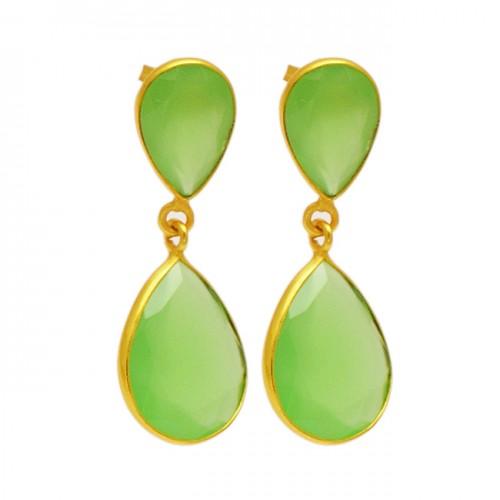 Bezel Setting Chalcedony Gemstone 925 Sterling Silver Gold Plated Stud Dangle Earrings