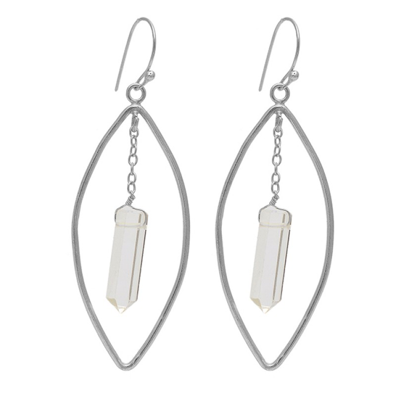 Pencil Shape Crystal Gemstone 925 Sterling Silver Gold Plated Chain Dangle Earrings