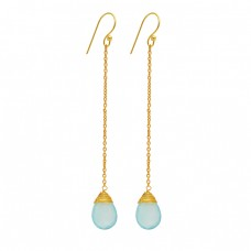 Pear Shape Blue Topaz Gemstone 925 Sterling Silver Gold Plated Chain Dangle Earrings