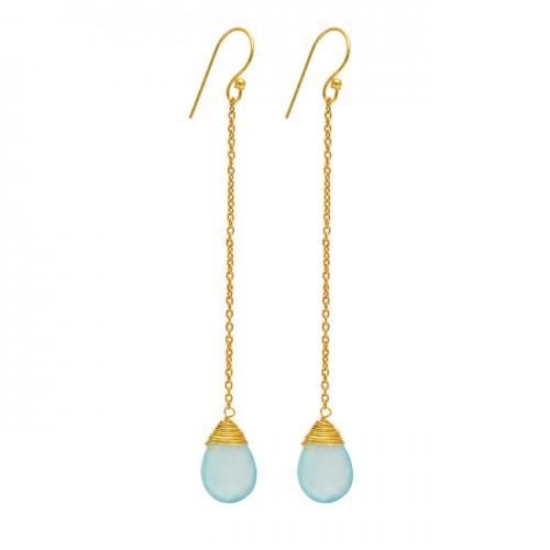 Pear Shape Blue Topaz Gemstone 925 Sterling Silver Gold Plated Chain Dangle Earrings