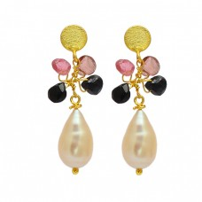 925 Sterling Silver Multi Color Gemstone Gold Plated Designer Dangle Stud Earrings