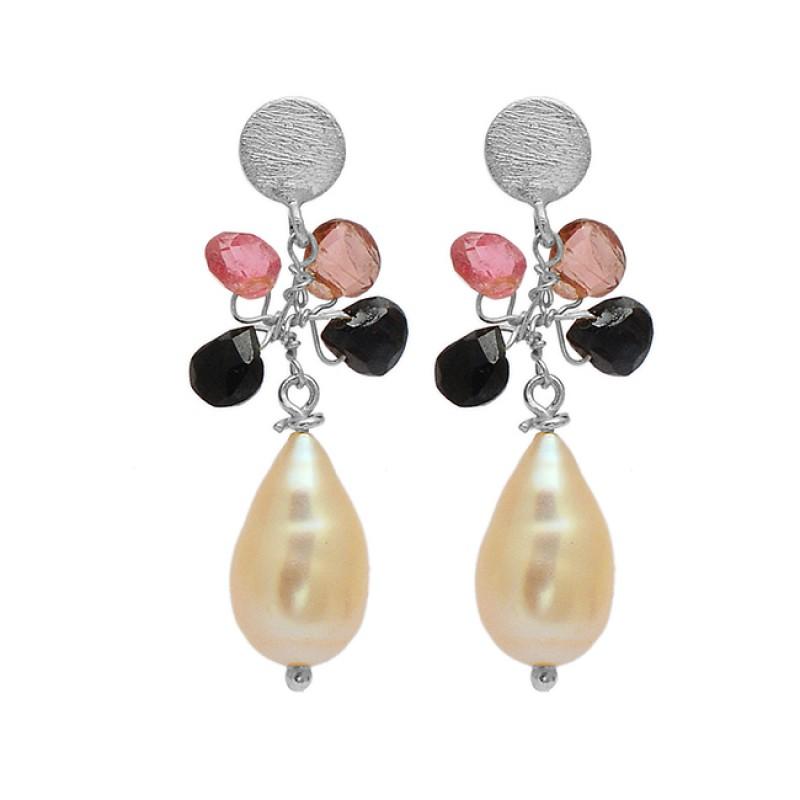 925 Sterling Silver Multi Color Gemstone Gold Plated Designer Dangle Stud Earrings