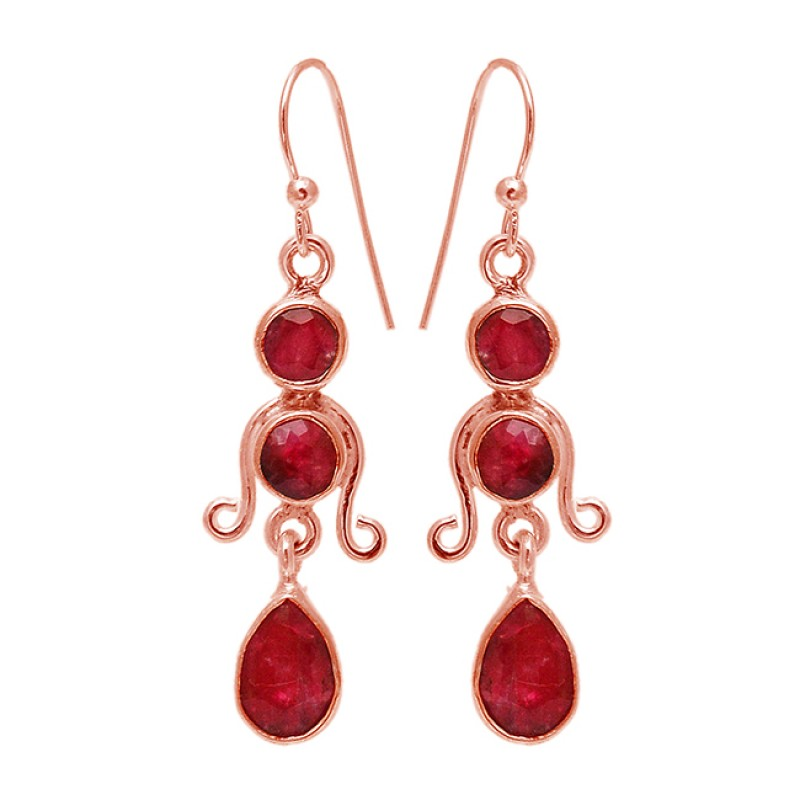 Pear Round Shape Ruby Gemstone 925 Sterling Silver Handmade Designer Earrings