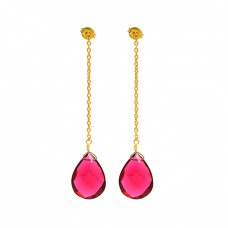 925 Sterling Silver Pink Quartz Gemstone Gold Plated Chain Dangle Stud Earrings