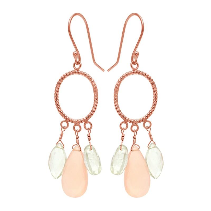 Chalcedony Amethyst Gemstone 925 Sterling Silver Gold Plated Dangle Earrings