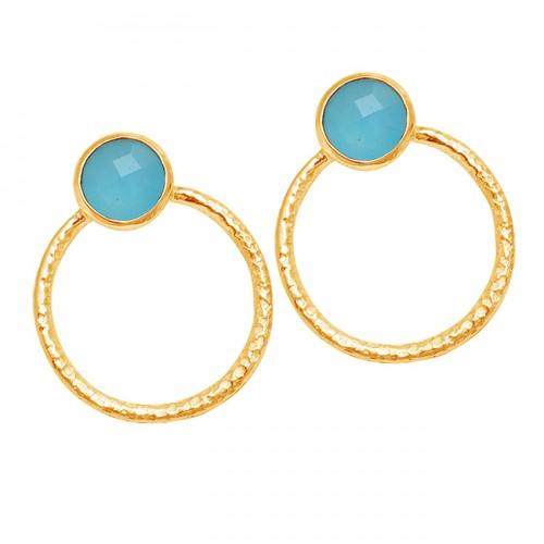 Aqua Chalcedony Round Shape Gemstone 925 Sterling Silver Designer Stud Earrings