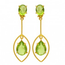 Peridot Oval Pear Shape Gemstone 925 Sterling Silver Gold Plated Dangle Stud Earrings