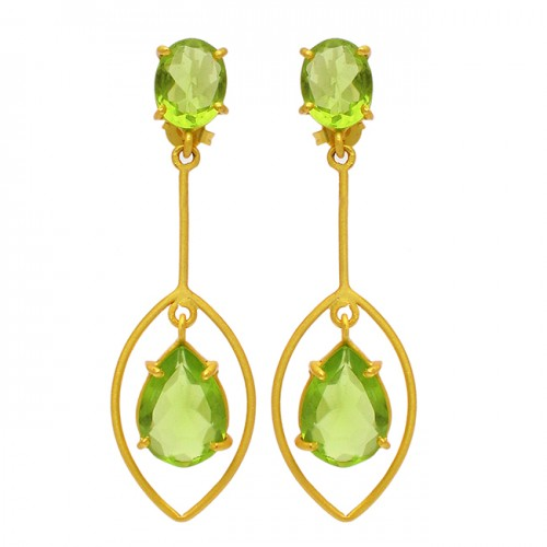 Peridot Oval Pear Shape Gemstone 925 Sterling Silver Gold Plated Dangle Stud Earrings
