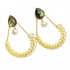 Labradorite Pearl Gemstone 925 Sterling Silver Gold Plated Dangle Stud Earrings
