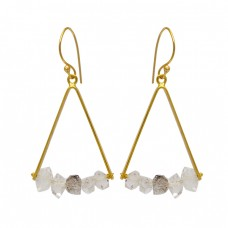 925 Sterling Silver Herkimer Diamond Rough Gemstone Gold Plated Dangle Earrings