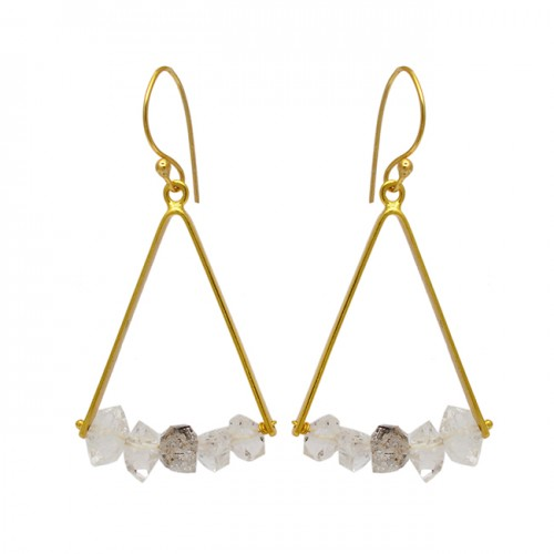 925 Sterling Silver Herkimer Diamond Rough Gemstone Gold Plated Dangle Earrings