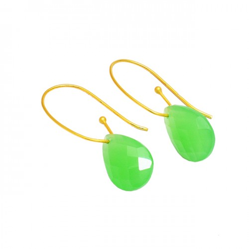 Pear Shape Prehnite Chalcedony Gemstone 925 Sterling Silver Gold Plated Earrings