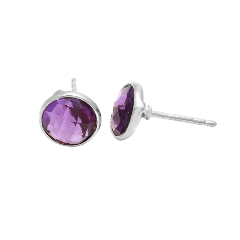 Round Shape Amethyst Gemstone 925 Sterling Silver Rose Gold Plated Stud Earrings