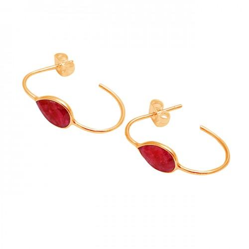 Ruby Pear Shape Gemstone 925 Sterling Silver Handmade Designer Hoop Earrings