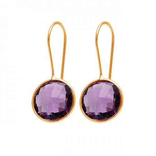Round Shape Amethyst Gemstone 925 Sterling Silver Fixed Ear Wire Earrings