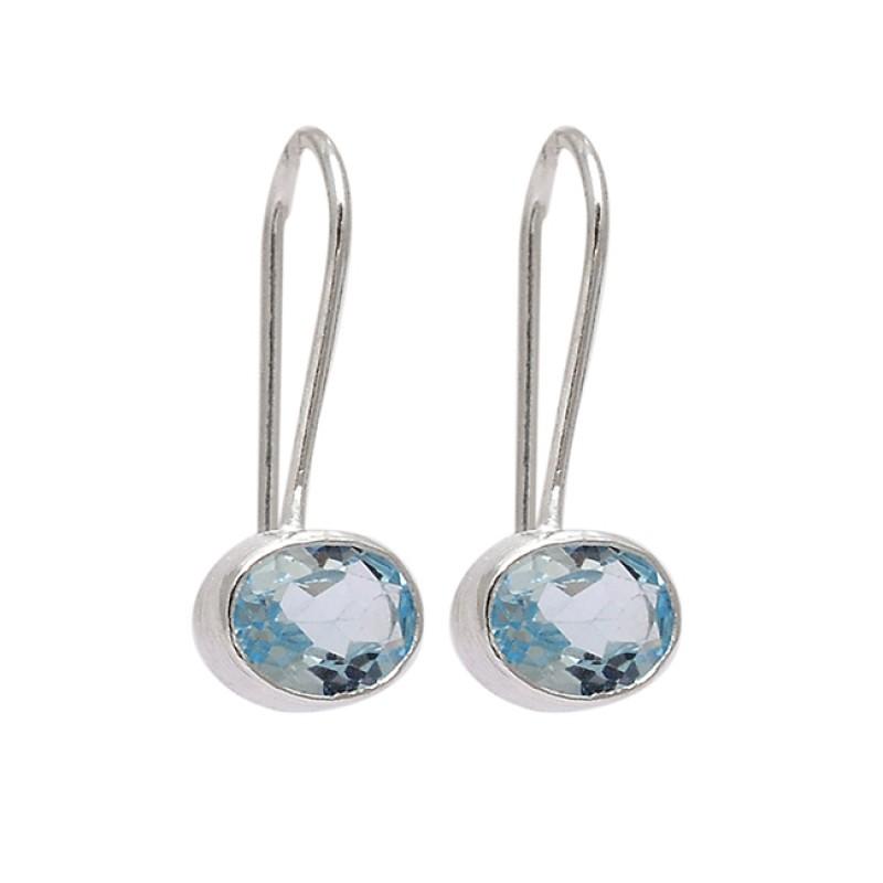 Oval Shape Blue Topaz Gemstone 925 Sterling Silver Fixed Ear Wire Earrings