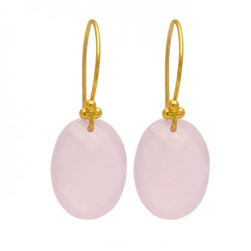 Rose Chalcedony Oval Shape Gemstone 925 Sterling Silver Gold Plated Designer Earrings