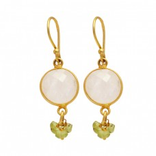 Moonstone Peridot Gemstone 925 Sterling Silver Gold Plated Dangle Earrings