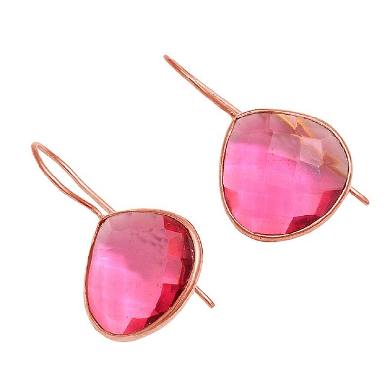 Heart Shape Pink Quartz Gemstone 925 Sterling Silver Gold Plated Fixed Ear Wire Earrings