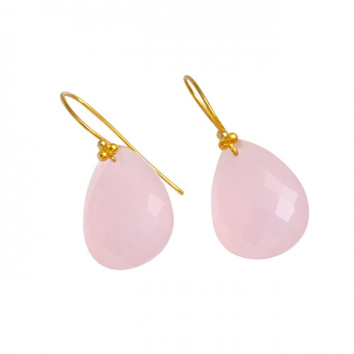 Pear Shape Rose Chalcedony Gemstone 925 Sterling Silver Gold Plated Earrings