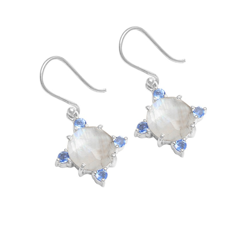 Rainbow Moonstone Iolite Gemstone 925 Sterling Silver Handmade Dangle Earrings