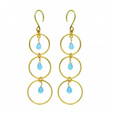 Pear Drops Shape Topaz Gemstone 925 Sterling Silver Gold Plated Dangle Earrings