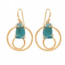 Apatite Rough Gemstone 925 Sterling Silver Handcrafted Designer Dangle Earrings