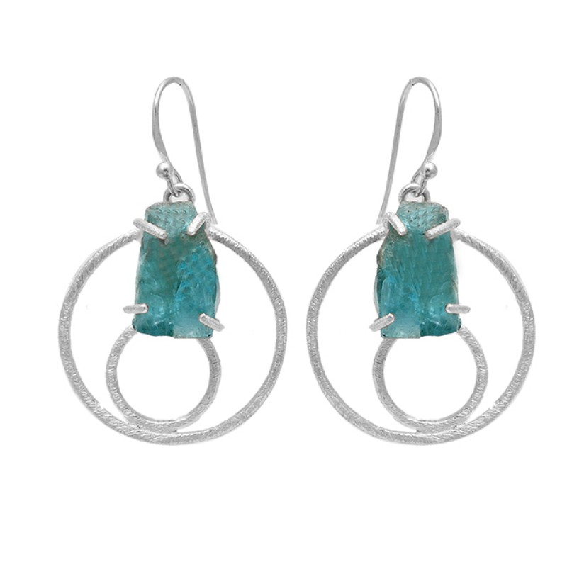 Apatite Rough Gemstone 925 Sterling Silver Handcrafted Designer Dangle Earrings