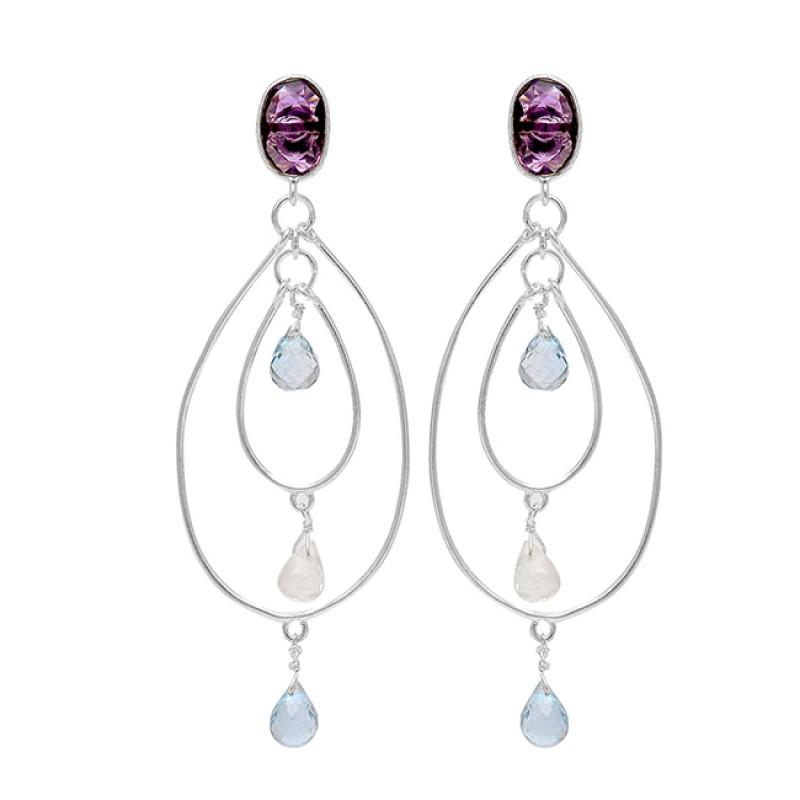 Amethyst Rainbow Moonstone 925 Sterling Silver Handmade Dangle Stud Earrings