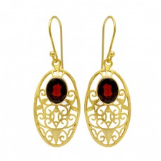 Faceted Oval Shape Garnet Gemstone Filigree Style Desginer Gold Plated Earrings