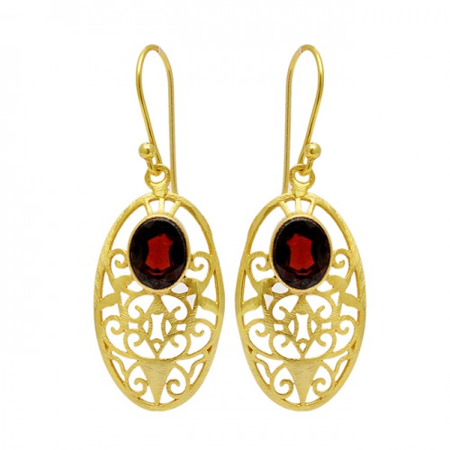 Faceted Oval Shape Garnet Gemstone Filigree Style Desginer Gold Plated Earrings